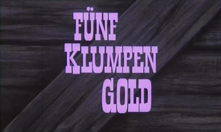 Fünf Klumpen Gold